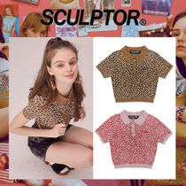 〜SCULPTOR〜 Leopard Polo Knit Top 2色[PK,BR]-超カワイイ!..