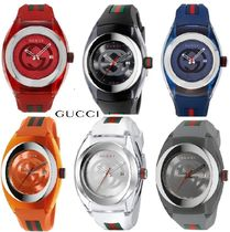 Gucci (グッチ)☆Unisex Swiss Sync Striped Rubber Strap Watch