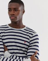 sleeve t-shirt with polo player logo in grey/navy stripe