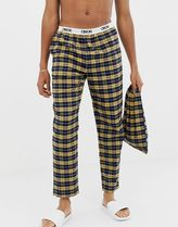 pyjama bottoms in mustard & navy brushed check with gift bag