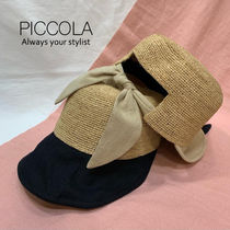 ■PICCOLA■【2COLOR】 バックリボンストローコンビ帽子