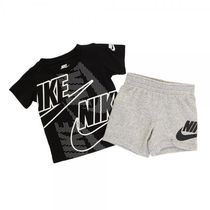 NIKE 66E517 042 KIDS FUTURA SS TEE & SHORT SET GREY HEATHER