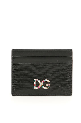 Dolce & gabbana leather cardholder with crystal dg