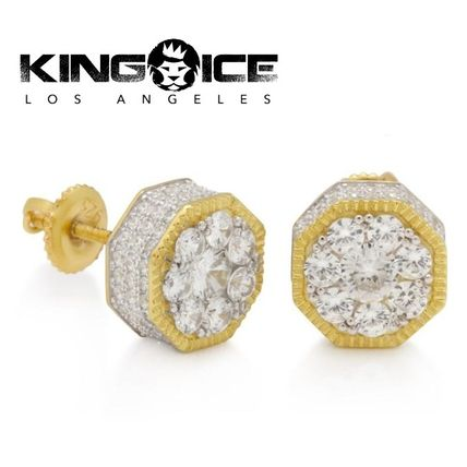 595265542 King Ice(キングアイス) ピアス KING ICE☆14K Gold Sterling Silver Hexagon Stud