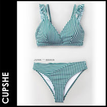 CUPSHE(カップシー) ビキニ ★追跡&関税込【CUPSHE】CYAN AND WHITE STRIPE DOUBLE STRAPS