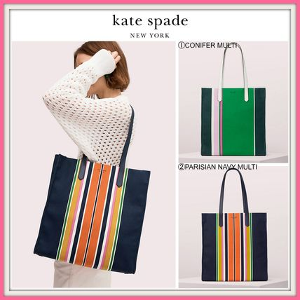 19SS! ☆kate spade☆kitt stripe extra large north south tote