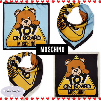 SALE★US発★MOSCHINO★Toy On Board テディ★シルクスカーフ