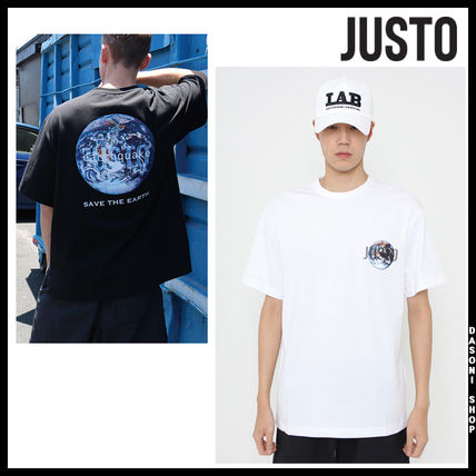 JUSTO Tシャツ・カットソー ★JUSTO★ 兼用 SAVE THE EARTH T-SHIRTS 半袖Tシャツ 2色