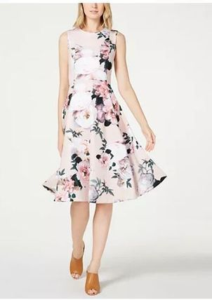 国内発 関税無★Calvin Klein★Floral-Print Fit & Flare Dress
