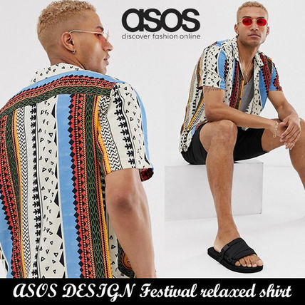 ASOS Festival relaxed shirt with aztec stripe◆在庫わずか!