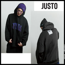 ★JUSTO★ 兼用 youth embroidered hoodie フード 2色
