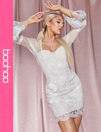 パーティドレス ドレス ブーフー 【Boohoo Plus Premium Crochet Lace Stappy Midi Dress】 blac レディース