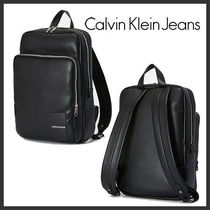 ★Calvin Klein★Men's Coated Canvas Slim Backpack★Black★
