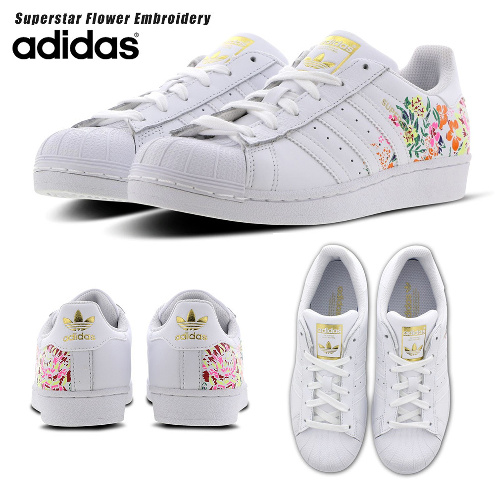 huge selection of d4c6e abb77 adidas SUPERSTAR 2019 SS Flower Patterns Round Toe Rubber Sole Lace-up  Casual Style (315348800202)