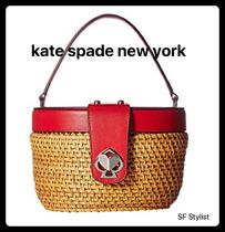国内発送★KateSpadeカゴバッグ赤rose medium top handle basket