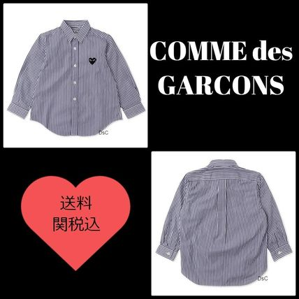 ☆COMME des GARCONS☆長袖ストライプシャツ 紺 *送料関税込み*