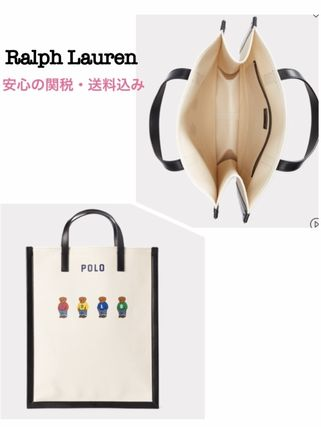 【Polo Ralph Lauren】ベアCanvas shopper with leather details
