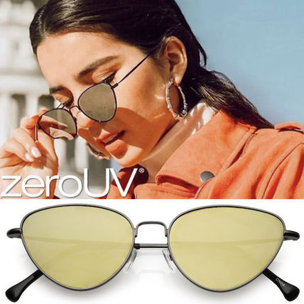 全5色*zeroUV*RETRO THIN FRAME METAL MIRRORED FLAT LENS SUN