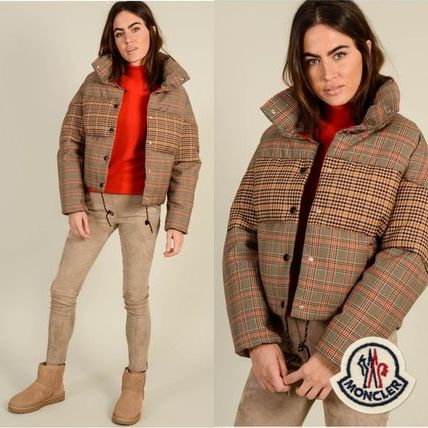MONCLER CERチェックダウンジャケット brown / red ポップな1着