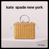 国内発送★KateSpadeカゴバッグ sam wicker medium satchel サム