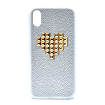 新作★iPhone【enchanted.LA】HEART STUDDED COVER Silver×Gold