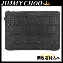 JIMMY CHOO LARGE DEREK POUCH IN SMOOTH LEATHER