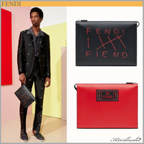 ◆FENDI  19SS◆CLUTCH◆Multicolour leather pochette◆BK×RD