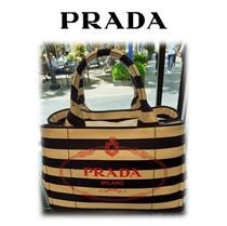 【OUTLET】PRADA☆CANAPA☆ミニトート☆ロゴ入り大人気ボーダー