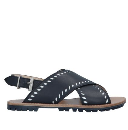 "JIL SANDER NAVY シューズ・サンダルその他 ""JIL SANDER NAVY""  CROSSOVER LEATHER SANDALS NAVY"