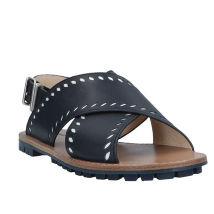 "JIL SANDER NAVY シューズ・サンダルその他 ""JIL SANDER NAVY""  CROSSOVER LEATHER SANDALS NAVY(3)"