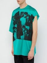 【RAF SIMONS】 Graphic One Side Shoulder Sleeve Tops GREEN