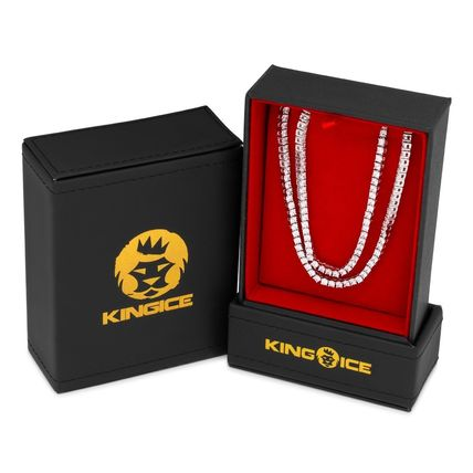 King Ice ネックレス・チョーカー LA発ストリート☆King Ice☆HipHopチェーンTennis 3mm 2本セット(10)