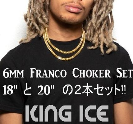 King Ice ネックレス・チョーカー LA発ストリート☆King Ice☆HipHopチェーンFranco 6mm 2本セット