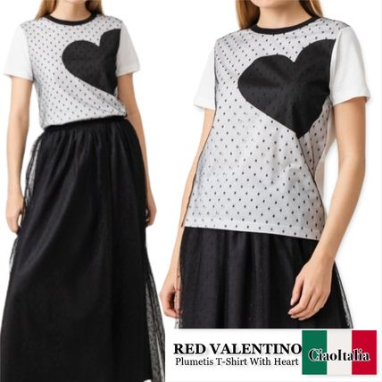 RED VALENTINO Tシャツ・カットソー RED VALENTINO  Plumetis T-Shirt With Heart