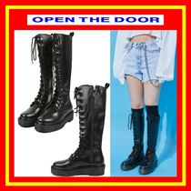 OPEN THE DOOR(オープンザドア) ロングブーツ [OPEN THE DOOR]  platform leather long walker boots /追跡付