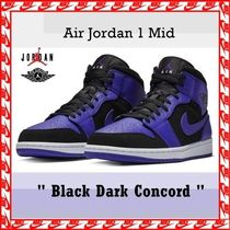 "NIKE Air Jordan 1 Mid ""Black Dark Concord"" FW 18  送料無料"