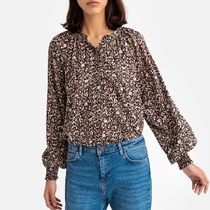 Grandad Collar Blouse with Long Puff Sleeves