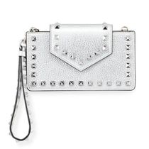 VALENTINO Rockstud Metallic LeatherFlap PhoneCase with Chain