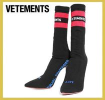 VETEMENTS★logo socks high heel boots black【謝恩品EMS】