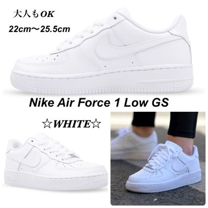 Nike(ナイキ) キッズスニーカー 大人もOK 【NIKE】Nike Air Force 1 Low GS ☆ALL WHITE