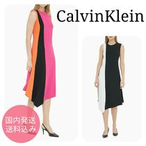 CalvinKlein☆COLORBLOCK ASYMMETRICAL SLEEVELESS DRESS