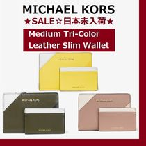◆MK◆Medium Tri-Color Leather Slim Wallet