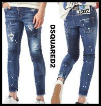 D SQUARED2(ディースクエアード) デニム・ジーパン 関税込★DSQUARED2★WHITE PAINTING FLOWER SKINNY JEAN★