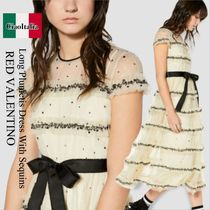 Red valentino long plumetis dress with sequins