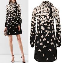V1626 SNOWDROP PRINT SILK CREPE DRESS WITH BOW