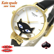 特別価格! kate spade ★Metro Black Leather 黒ネコ Watch