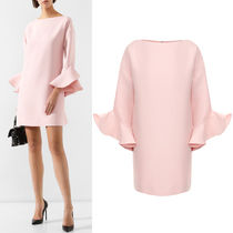 V1630 CREPE COUTURE DRESS WITH RUFFLED SLEEVE