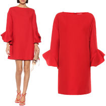 V1631 CREPE COUTURE DRESS WITH RUFFLED SLEEVE