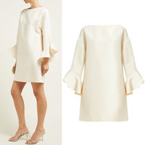 V1633 CREPE COUTURE DRESS WITH RUFFLED SLEEVE