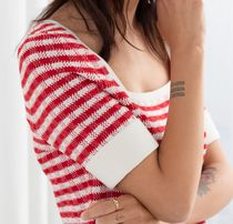 """""""& Other Stories"""" Cotton Silk Micro Knit Top Red/White"""